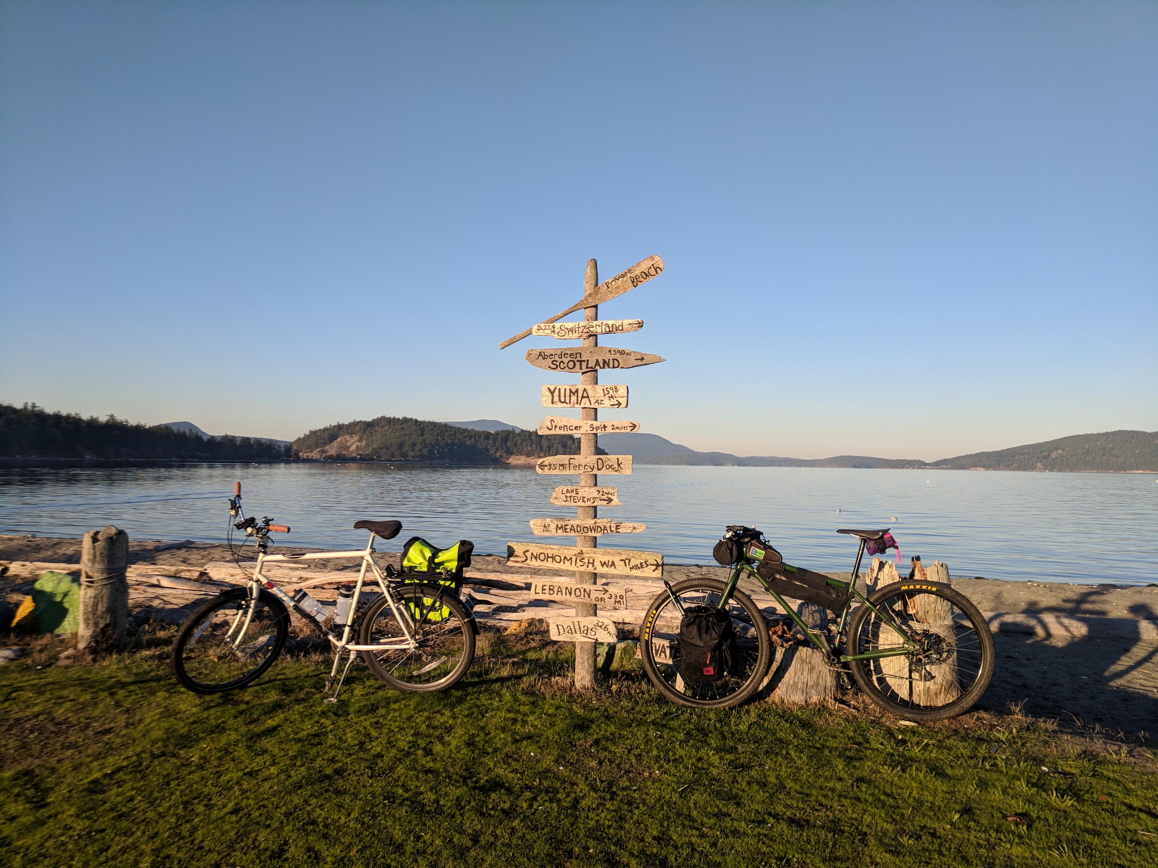 Riding bikes on Lopez Island